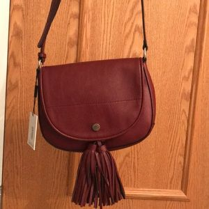 Calvin Klein burgundy tassel purse